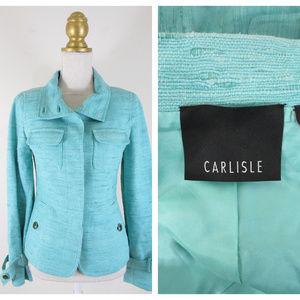 Carlisle Mint Green Button Front Blazer Jacket 2